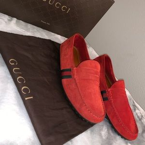 GUCCI AUTHENTIC RED SUADE DRIVER LOAFERS SHOES